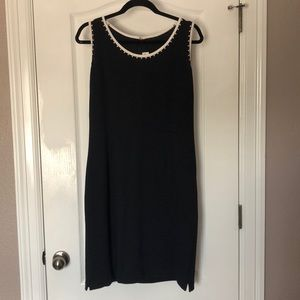 ST JOHN Navy Studded Knit Wool Sleeveless Dress 10